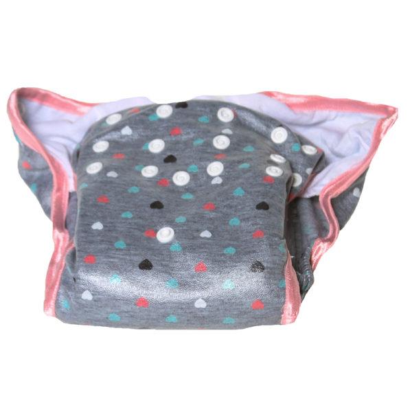 Grey & Pink Heart Print Cloth Nappy